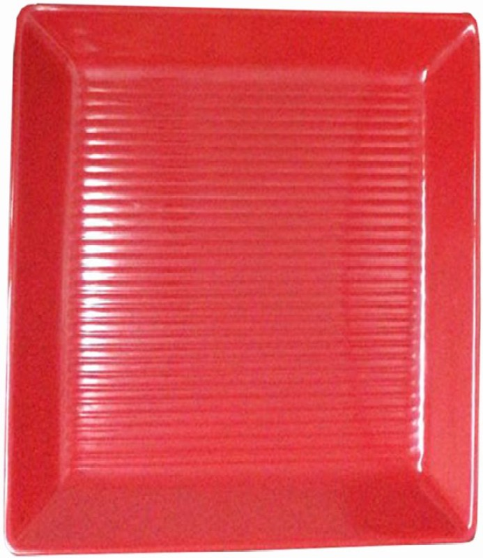 Decornt Melamine Large Decorative Serving Square Platter For Salad Rice Dry Items Food Kitchen 14 x 14 Inches One Piece - Red Tray