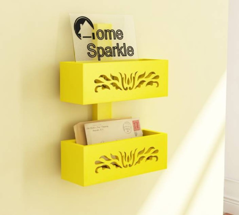 OnlineCraft wooden wall stand Wooden Wall Shelf(Number of Shelves - 2, Yellow)