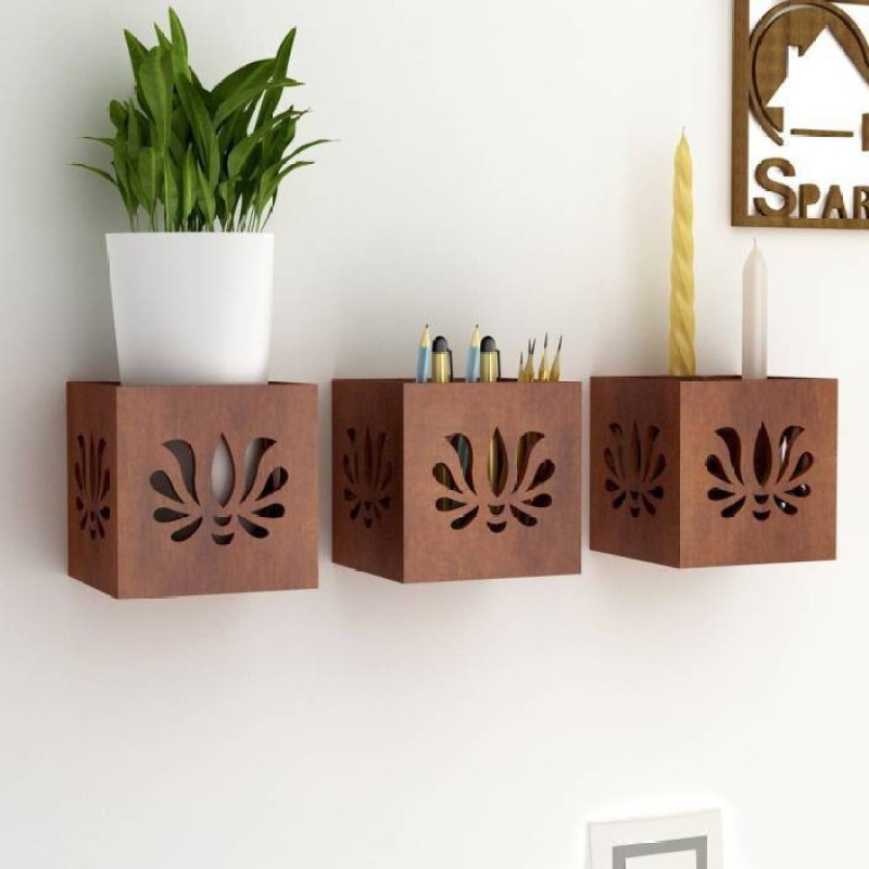 OnlineCraft wooden wall stand Wooden Wall Shelf(Number of Shelves - 3, Brown)