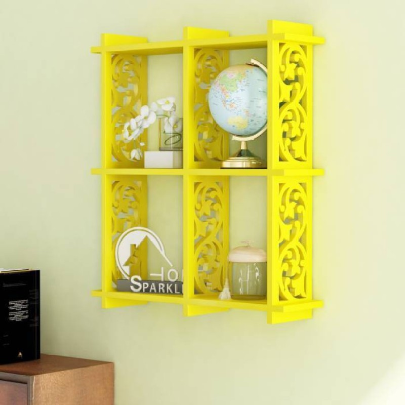 OnlineCraft wooden wall stand Wooden Wall Shelf(Number of Shelves - 4, Yellow)