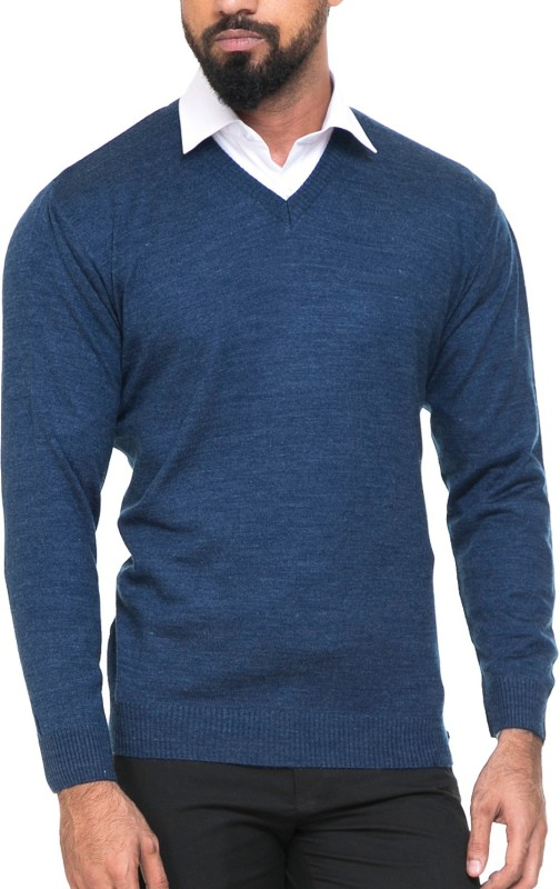 SWEVEN Solid V-neck Formal Men Dark Blue Sweater