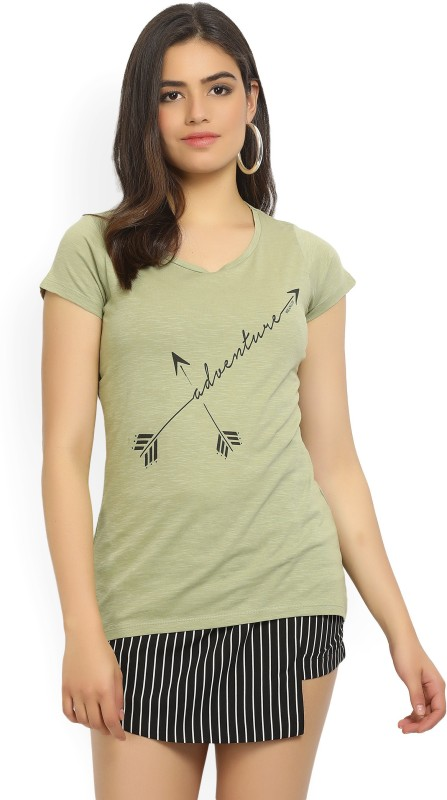 Wrangler Printed Womens Round Neck Green T-Shirt