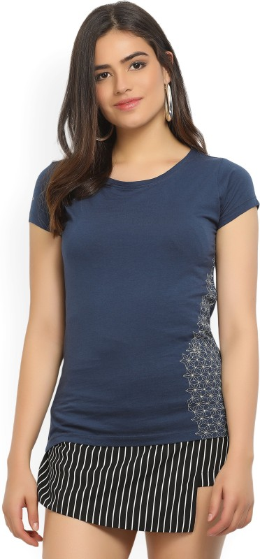 Wrangler Printed Womens Round Neck Dark Blue T-Shirt