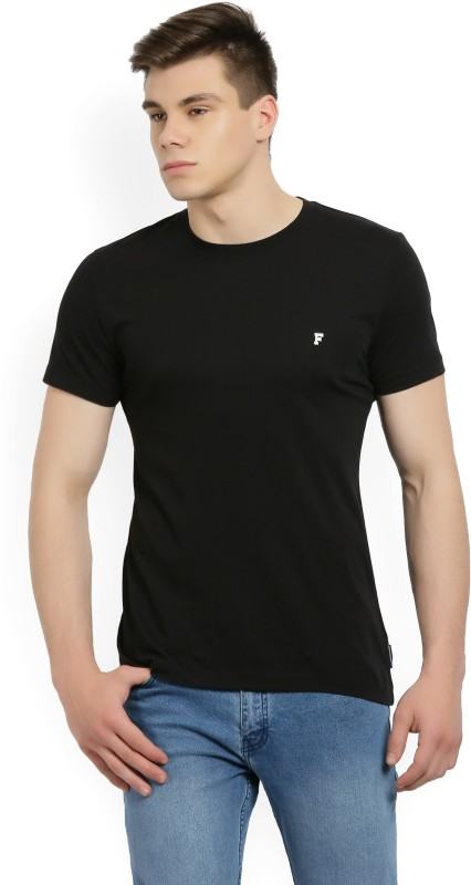 French Connection Solid Mens Round Neck Black T-Shirt