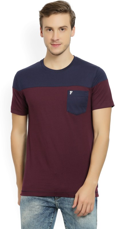 French Connection Solid Mens Round Neck Blue, Maroon T-Shirt