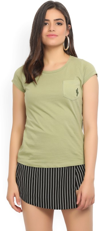 Wrangler Solid Womens Round Neck Green T-Shirt