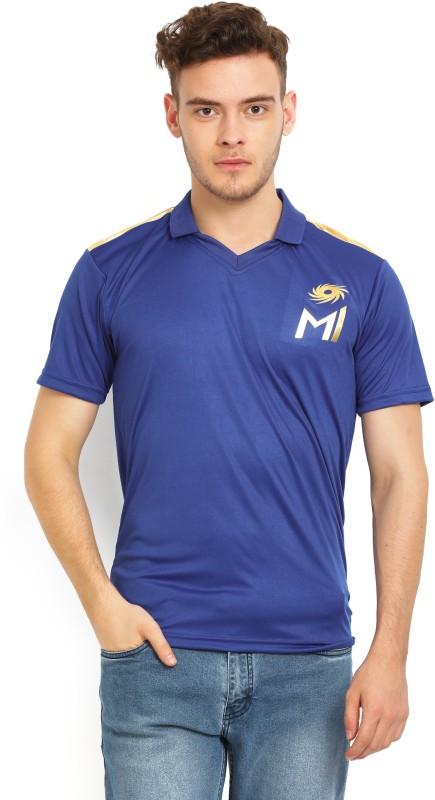 Mumbai Indians Printed Men's Polo Neck Blue T-Shirt