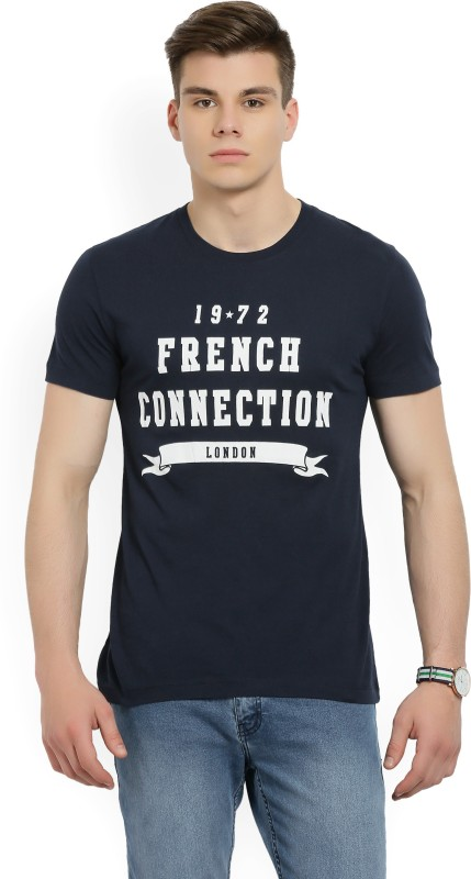 French Connection Printed Mens Round Neck Dark Blue T-Shirt