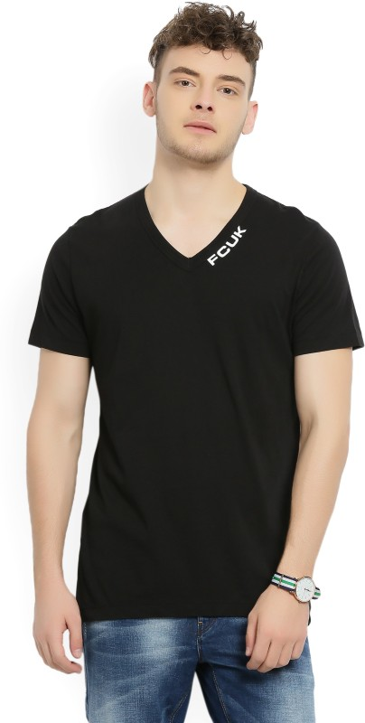 French Connection Solid Mens V-neck Black T-Shirt