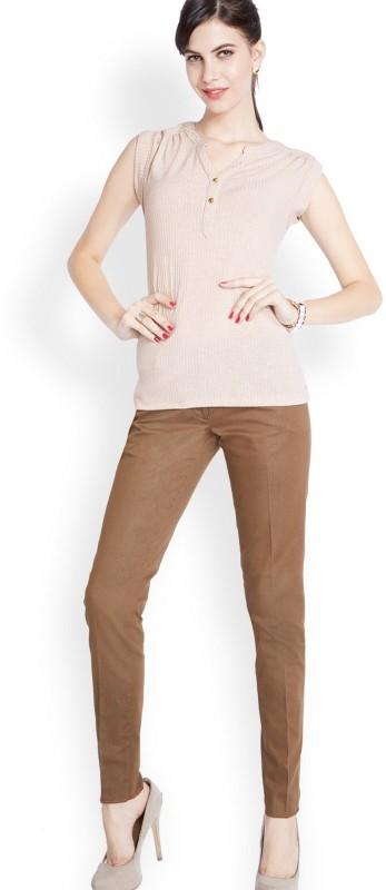 Park Avenue Self Design Women Mandarin Collar Beige T-Shirt
