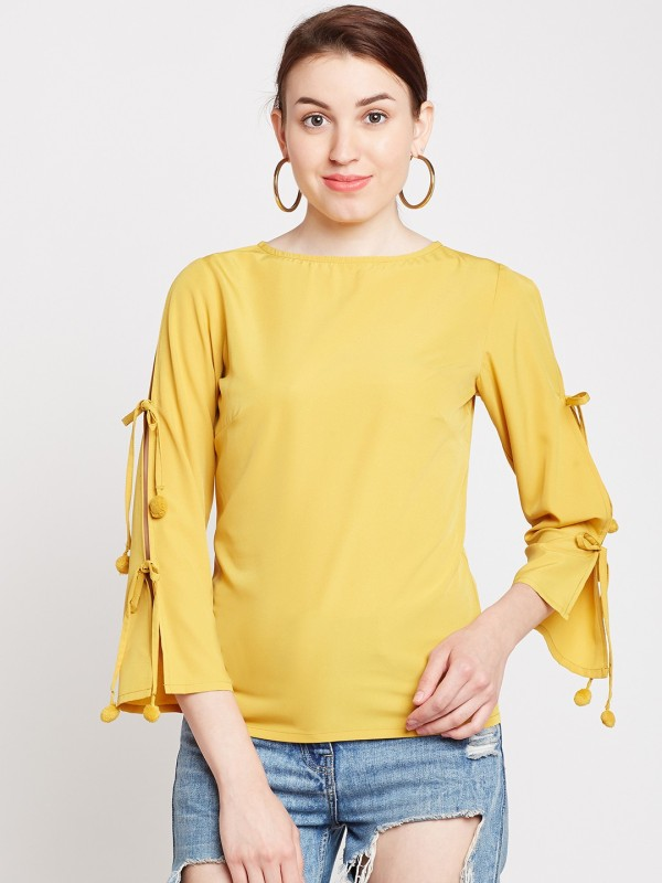 Popnetic Casual 3/4th Sleeve Solid Women's Yellow Top