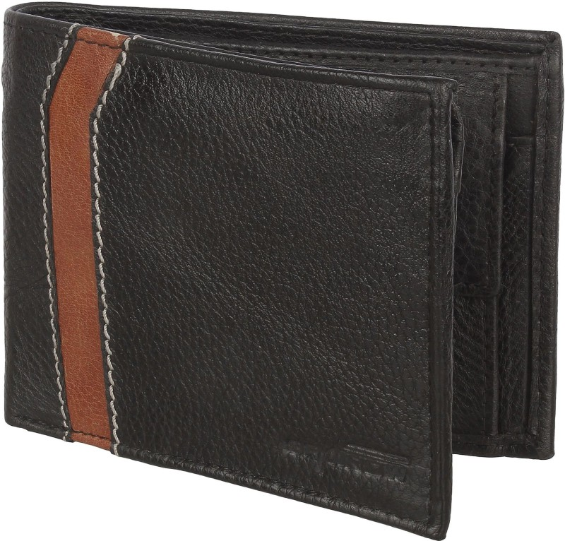 Spairow Men Black Genuine Leather Wallet(6 Card Slots)