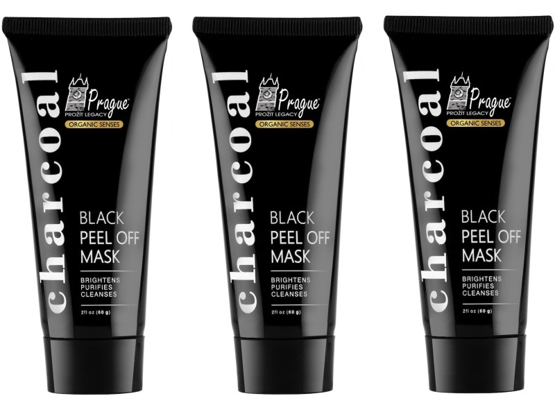 Prague Activated Charcoal Peel Off Black Mask Face Pack (Deep Skin Cleansing, Pack of 3)(60 ml)