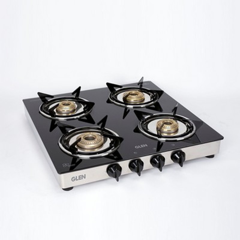 GLEN 4 Burner Gas Stove 1040 Gt Brass Burner Steel Manual Gas Stove(4 Burners)