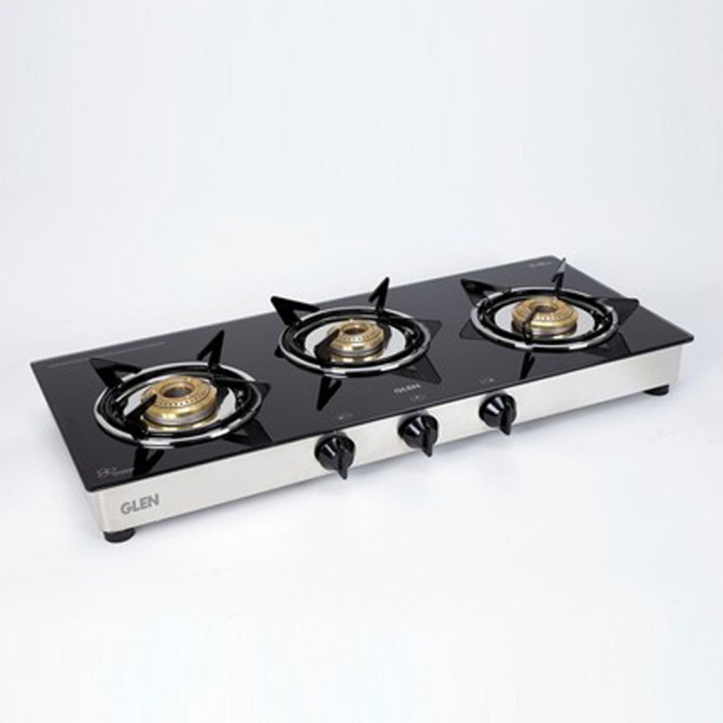 GLEN 3 Burner Gas Stove 1030 Gt Junior Brass Burner Steel Manual Gas Stove(3 Burners)