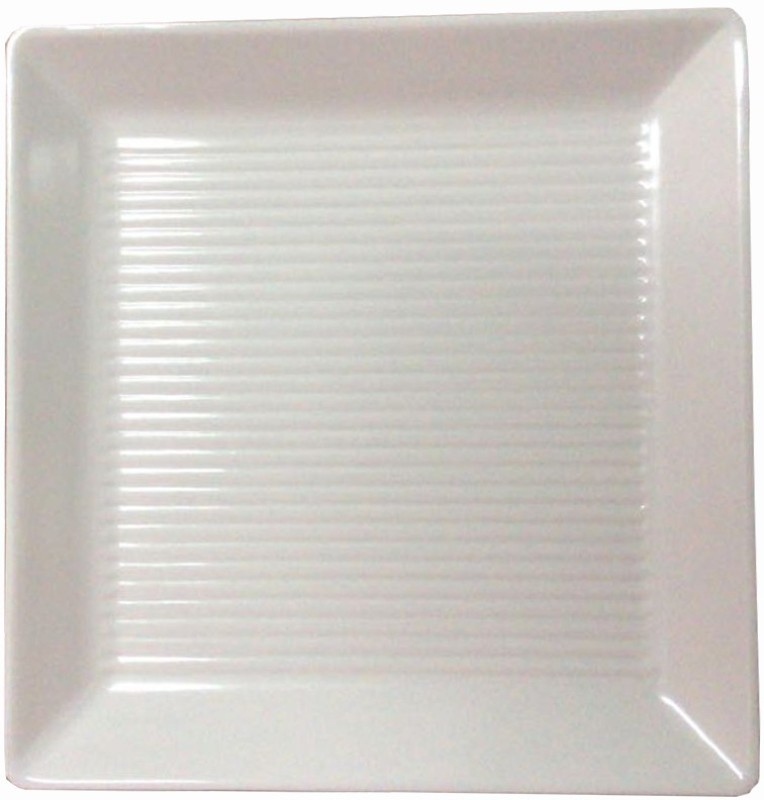 Decornt Melamine Large Decorative Serving Square Platter For Salad Rice Dry Items Food Kitchen 14 x 14 Inches One Piece - Off White Tray