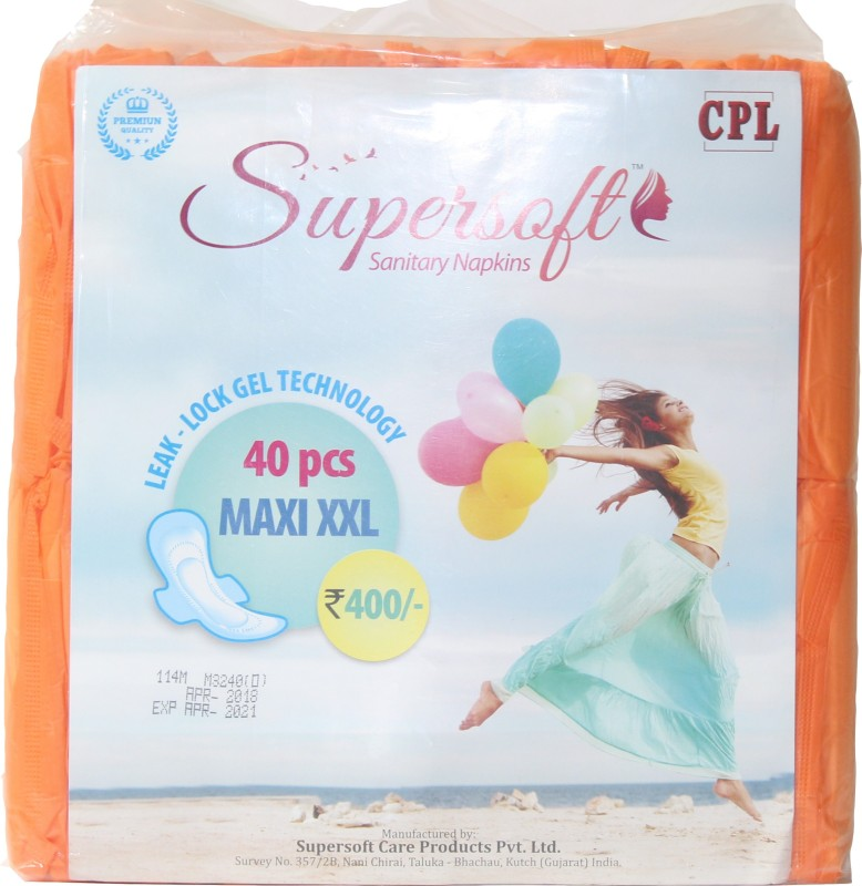 Supersoft Orange Sanitary pads 40 pcs For-Women & Girls Sanitary Pad(Pack of 40)