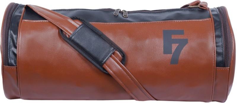 Dee Mannequin Tan Black Faux Leather Gym Bag(Multicolor, Kit Bag)