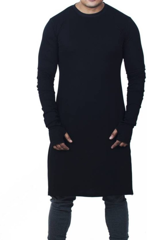 WRODSS Solid Men's Round Neck Black T-Shirt