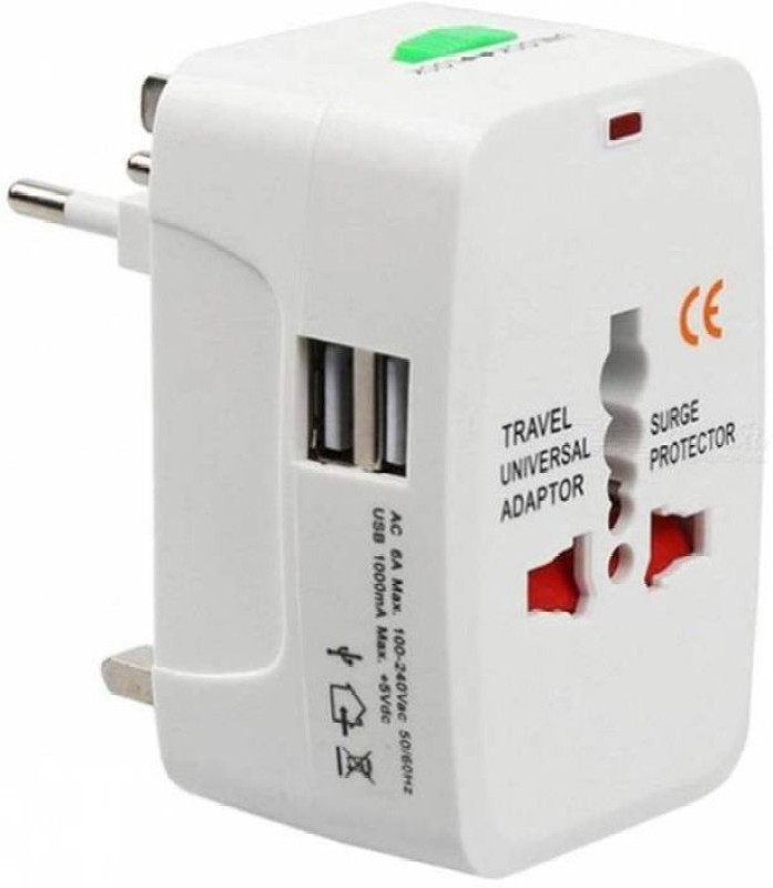 ANDTRONICS International All In One Travel Adapter with 2 USB Ports Charger Worldwide Adaptor(White)