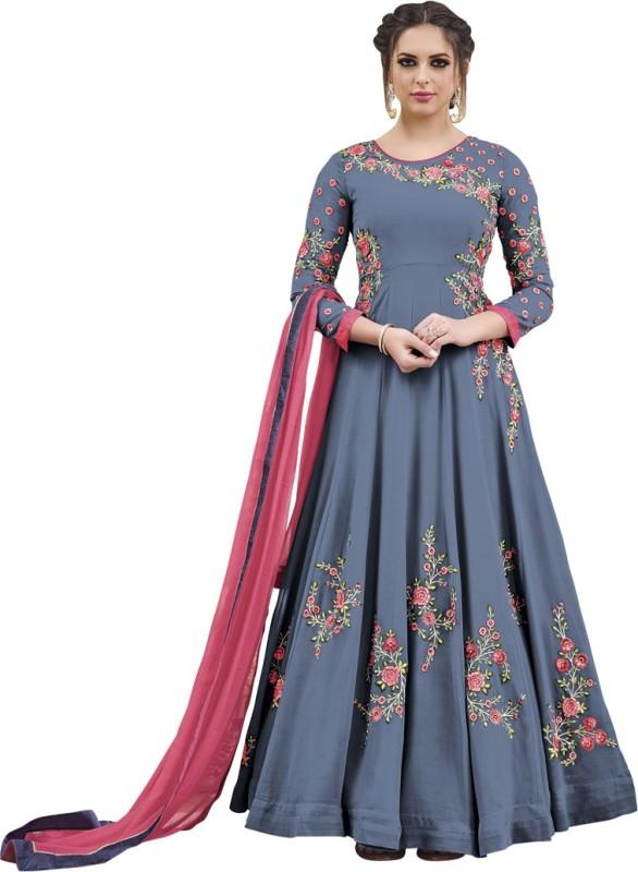 Saara Georgette Embellished, Embroidered Semi-stitched Salwar Suit Dupatta Material