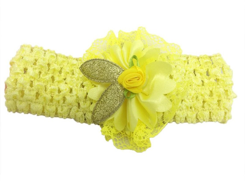 Stoln Kids Hair Accessory Daily wear / Party wear Crochet Cutwork Flower Headband-Yellow Head Band(Yellow)