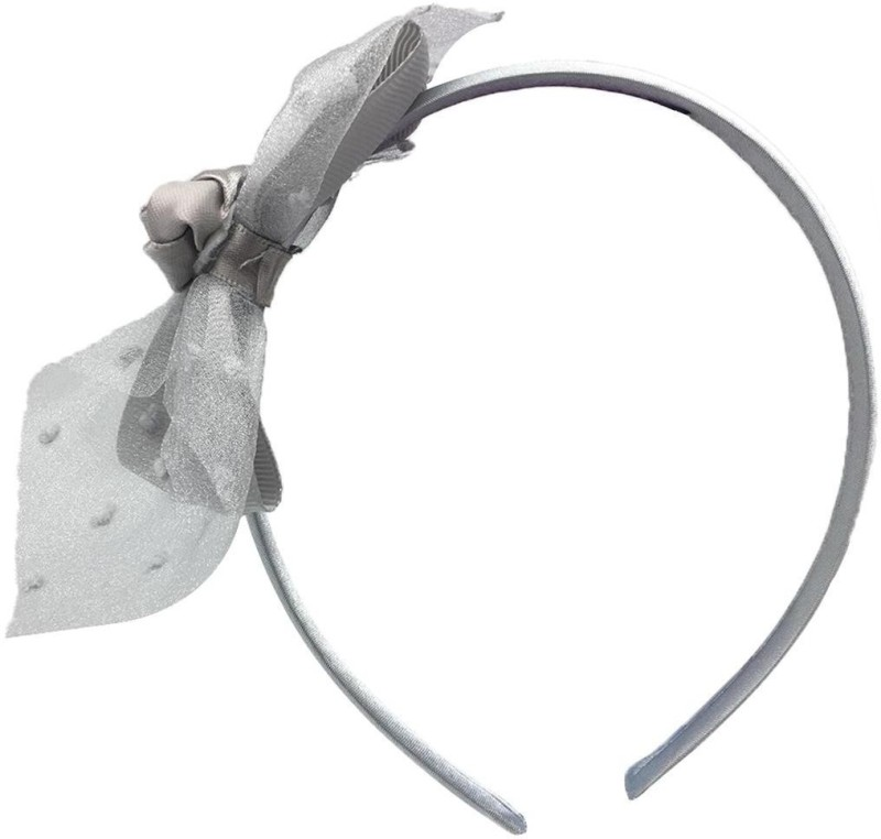 Stoln Kids Hair Accessory Daily wear / Party wear Net Flower with Bow Style Hair Band-Silver Hair Band(Silver)
