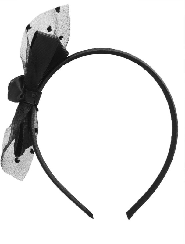 Stoln Kids Hair Accessory Daily wear / Party wear Net Flower with Bow Style Hair Band-Black Hair Band(Black)