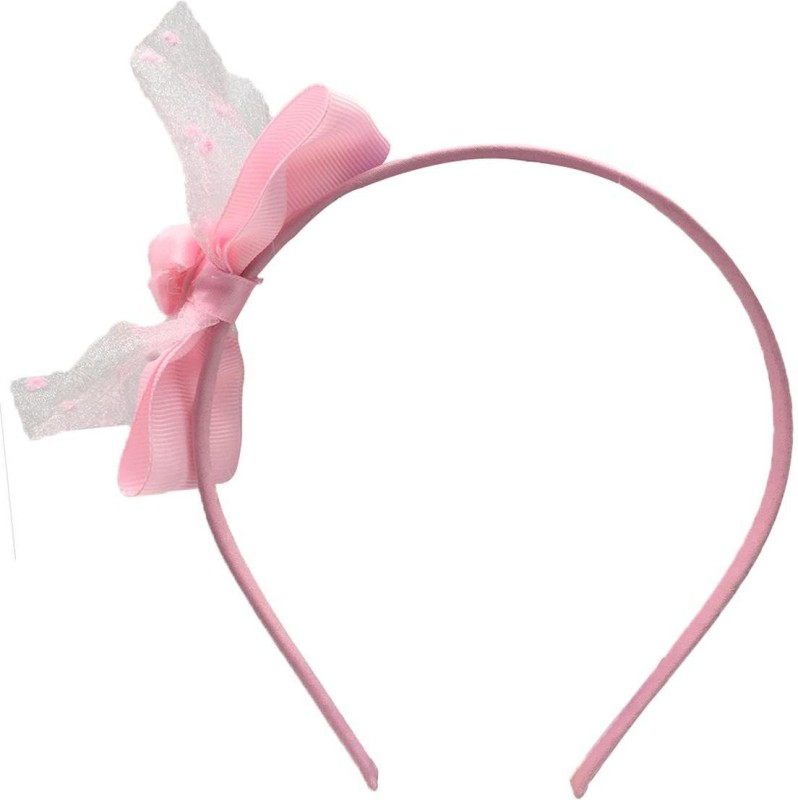 Stoln Stoln Kids Hair Accessory Daily wear / Party wear Net Flower with Bow Style Hair Band-Light Pink Hair Band(Pink)