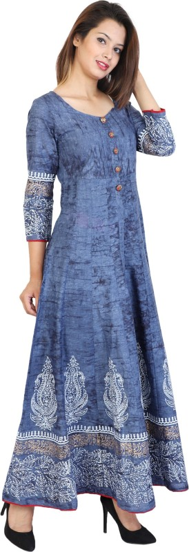 Metro Fashion Women Self Design Frontslit Kurta(Blue)