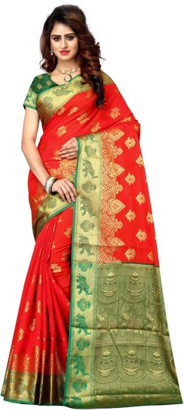Shoppershopee Self Design Paithani Banarasi Silk, Art Silk Saree(Red)