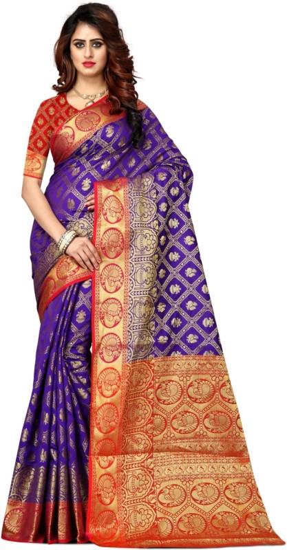 Shoppershopee Self Design Paithani Banarasi Silk, Art Silk Saree(Blue)