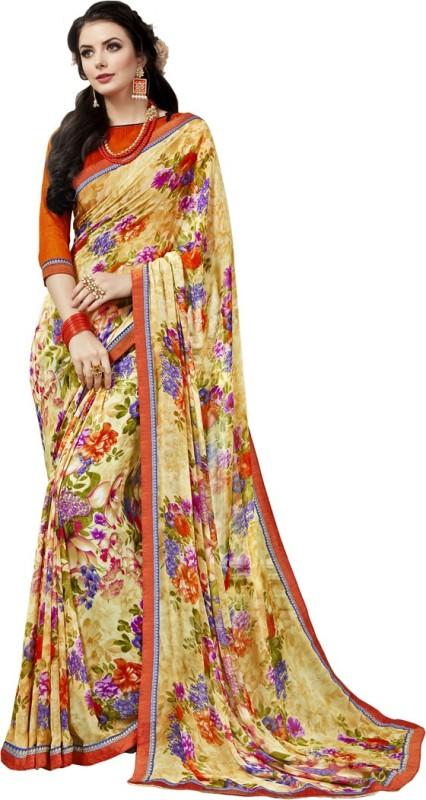 Saara Printed Daily Wear Georgette Saree(Beige, Multicolor)