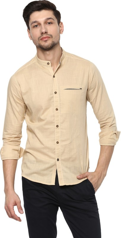 Spykar Mens Solid Casual Mandarin Shirt