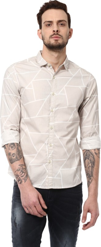 Spykar Mens Solid Casual Cut Away Shirt