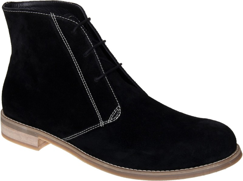 LOZANO Black suede chukka boots Size-7 Boots For Men(Black)
