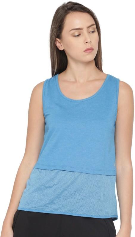 HRX by Hrithik Roshan Solid Women Round Neck Blue T-Shirt