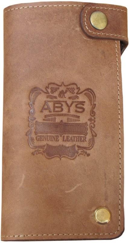ABYS Genuine Leather Long Card Holder//Travel Wallet//Card Case for Men & Women(Tan)