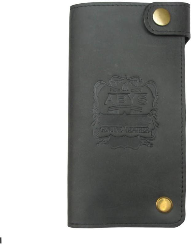 ABYS Genuine Leather Long Card Holder//Travel Wallet//Card Case for Men & Women(Grey)