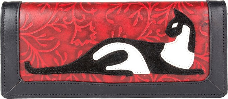 Holii Women Red Genuine Leather Wallet(1 Card Slot)