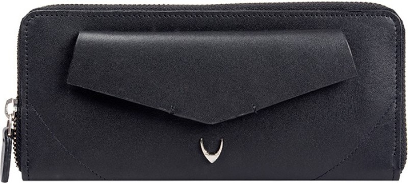Hidesign Women Black Genuine Leather Wallet(2 Card Slots)