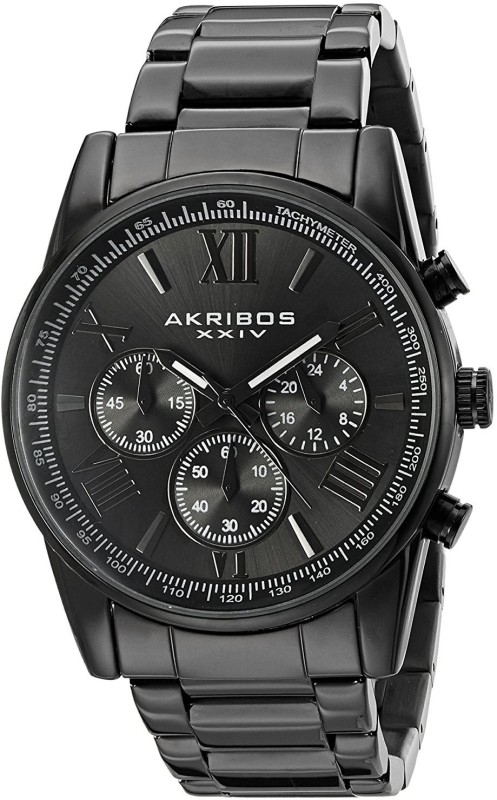 Akribos XXIV Black19491 Akribos XXIV Mens AK865BK Round Black Dial Chronograph Quartz Black Bracelet Watch Watch - For Men