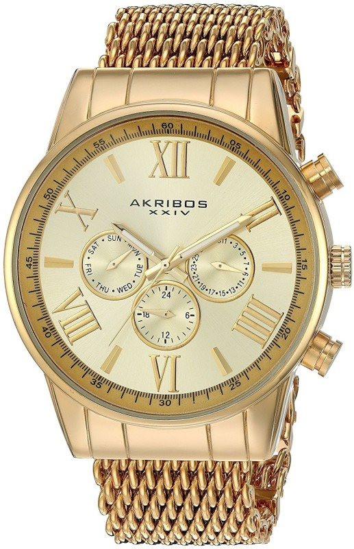 Akribos XXIV gold22506 Akribos XXIV Mens AK919YG Analog Swiss Quartz Gold Watch Watch - For Men