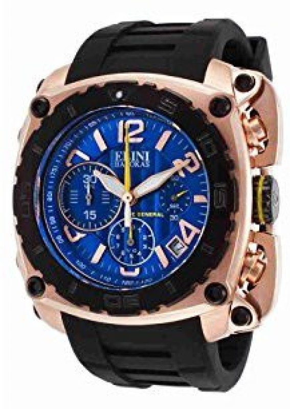 Elini Barokas blue20766 Elini Barokas Mens ELINI-20010-RG-03-BB The General Analog Display Swiss Quartz Black Watch Watch - For Men