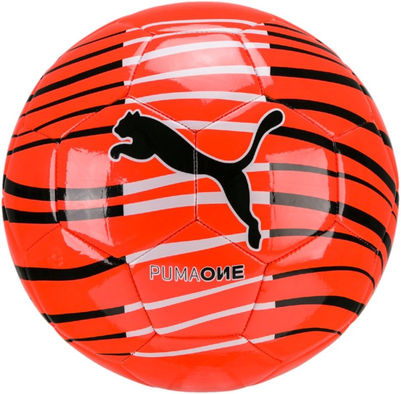 Puma One Wave Ball Black-Red Soccer Ball Football - Size: 5(Pack of 1, Multicolor)