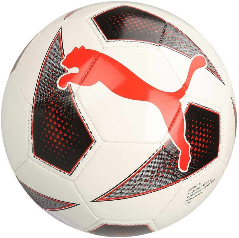 Puma Big Cat 2 White Red Soccer Ball Football - Size: 5(Pack of 1, Multicolor)