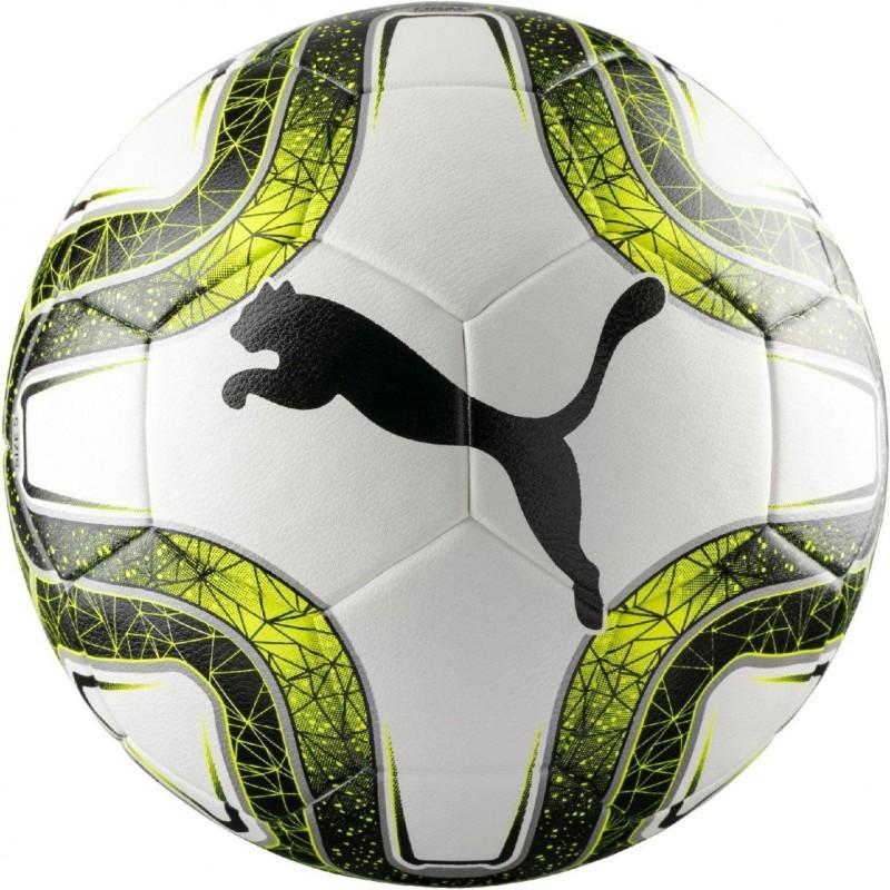 Puma Final 5 Hardground White Lemon Black Soccer Ball Football - Size: 5(Pack of 1, Multicolor)
