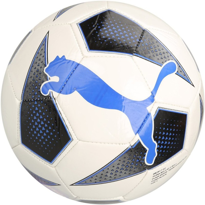 Puma Big Cat 2 White Blue Black Soccer Ball Football - Size: 5(Pack of 1, Multicolor)
