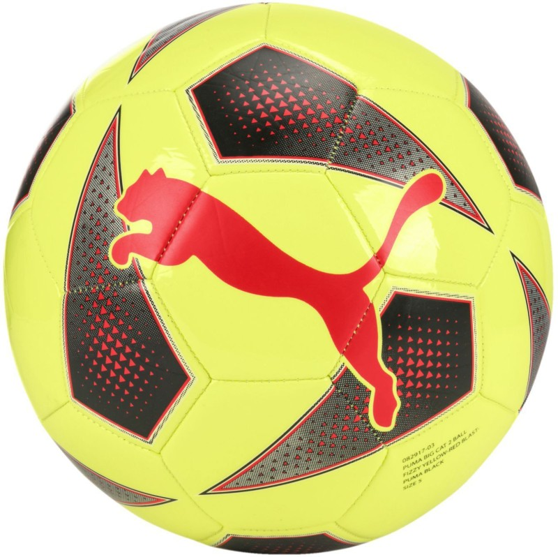 Puma Big Cat 2 Yellow Red Soccer Ball Football - Size: 5(Pack of 1, Multicolor)
