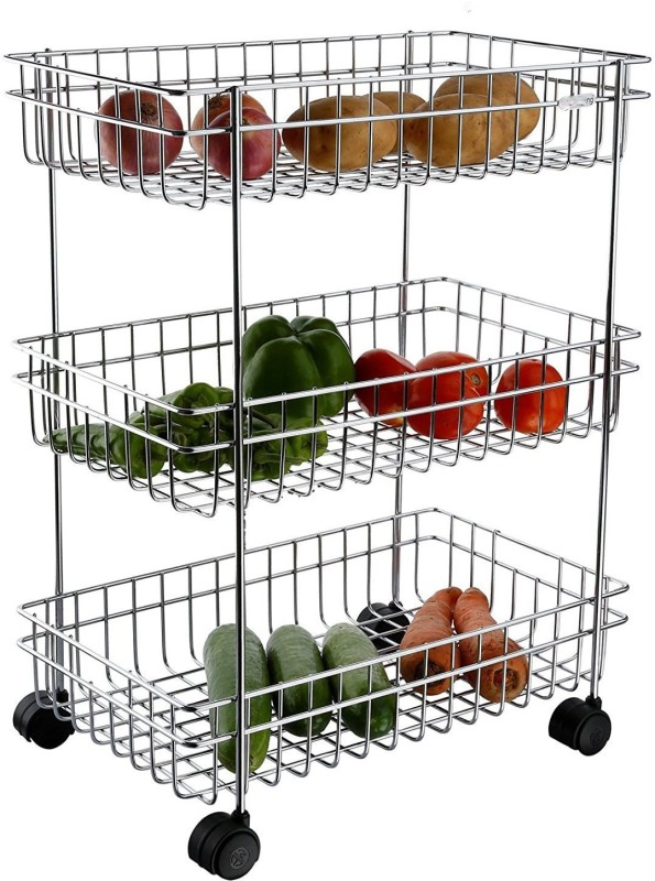 GM fruit and vegetable Trolly Stainless Steel With 3-Tier Stainless Steel Kitchen Trolley